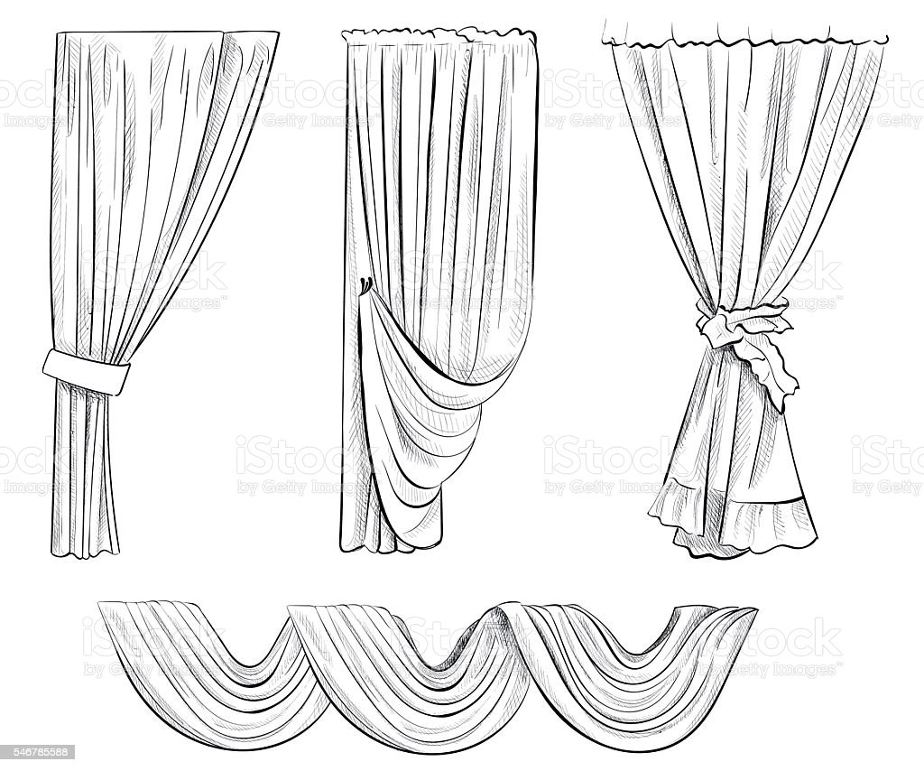 Curtain Draped With Lambrequins Isolated On A White Stock Illustration Download Image Now Istock