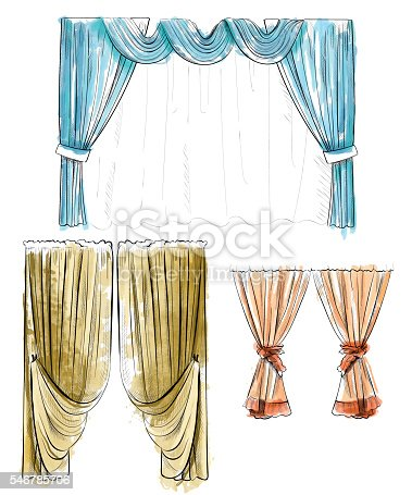 Sketch design curtains windows. Background for use in design, web site, packing, textile, fabric decorative elements for interior. Curtain draped with lambrequins isolated on a white
