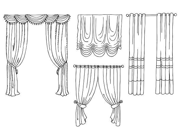 vorhang grafik gesetzt kunst schwarz/weiß isoliert vektor-illustration - stoffrollos stock-grafiken, -clipart, -cartoons und -symbole