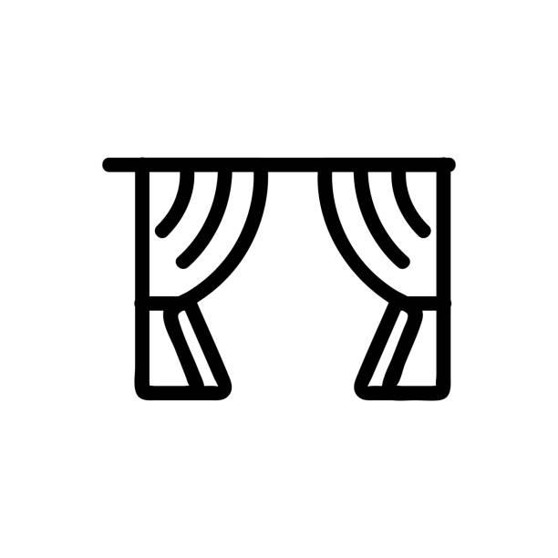 ilustrações de stock, clip art, desenhos animados e ícones de curtain icon vector. isolated contour symbol illustration - com portada
