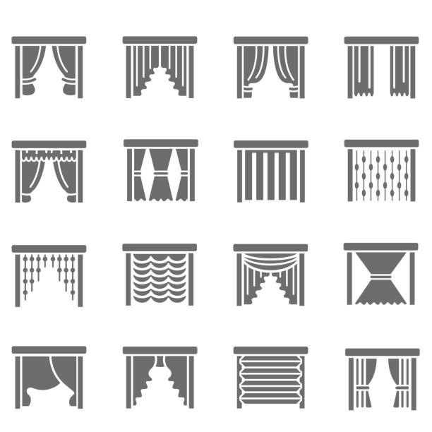 vorhang-symbole - stoffrollos stock-grafiken, -clipart, -cartoons und -symbole