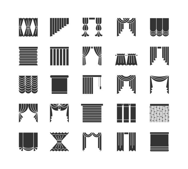 curtains & blinds. window drapes. flat icon collection. isolated objects on white backround. - жалюзийный тип stock illustrations