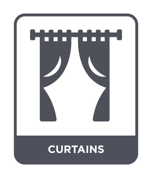 vorhänge symbol vektor auf weißem hintergrund, gefüllt vorhänge trendige symbole aus möbel und haushalt - stoffrollos stock-grafiken, -clipart, -cartoons und -symbole