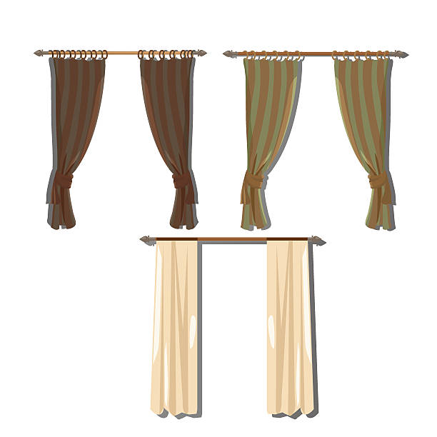 vorhänge im retro-stil für dekoration - stoffrollos stock-grafiken, -clipart, -cartoons und -symbole