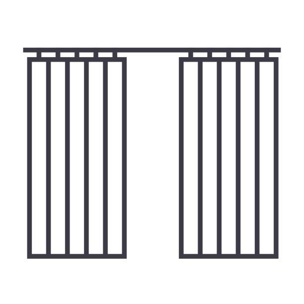 vorhänge zu unterzeichnen, vektor-linie-symbol, zeichen, illustration auf hintergrund, editierbare striche - stoffrollos stock-grafiken, -clipart, -cartoons und -symbole