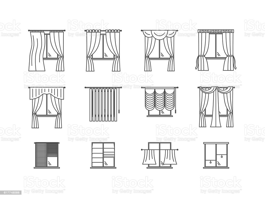 Curtains types thin line set vector stock vector art for Different styles of drapes