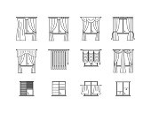 Curtains Types Thin Line Set. Vector