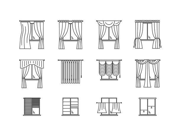 curtains types thin line set. vector - stoffrollos stock-grafiken, -clipart, -cartoons und -symbole