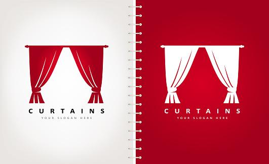 Curtains vector. Interior Design.