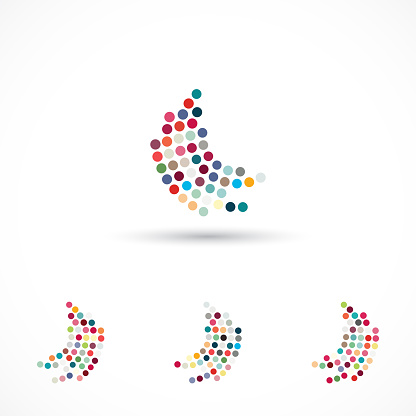 Curve Half Tone Dots Pattern Icon collection