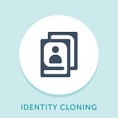 Curved Style Line Vector Icon for Identity Cloning.