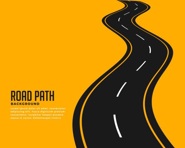 bildbanksillustrationer, clip art samt tecknat material och ikoner med kurva slingrande väg banan bakgrund design - road