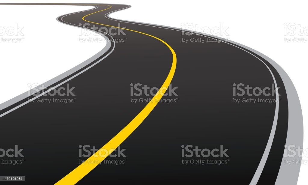 Curved asphalt road vector art illustration