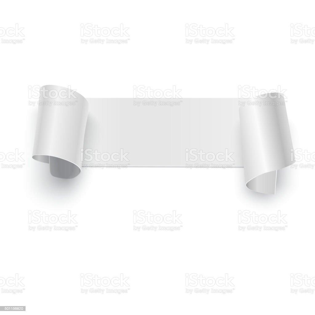 Curved banner on white vector art illustration