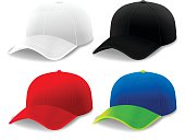 Curved brim cap and hats in white, black, red and blue green colors. EPS 10 file. Transparency effects used on highlight elements.