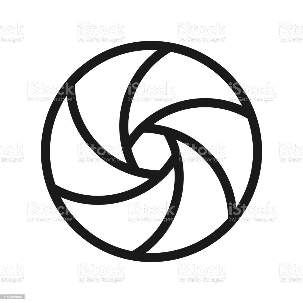 Curved Camera Aperture - Outline vector art illustration