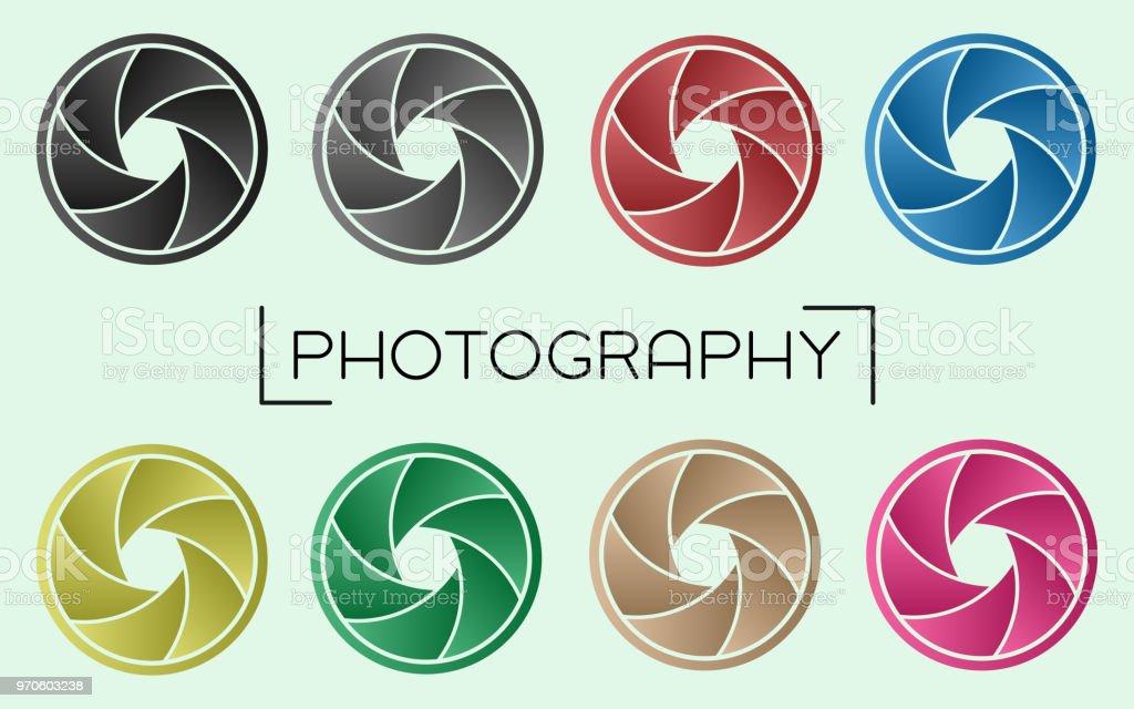 Curved Camera Aperture Set - Gradient Color vector art illustration