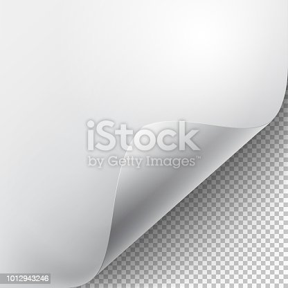 Curved corner of a white paper with shadow. Mock-ups close-up on a transparent background. Vector illustration EPS 10