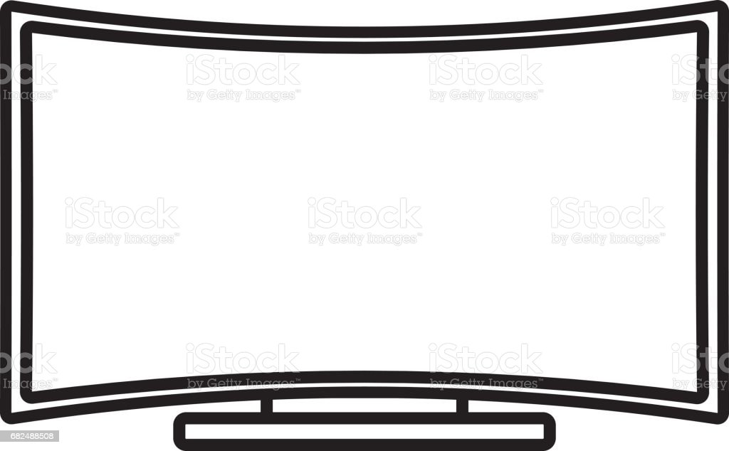 Curved Flat Screen Smart TV royalty-free curved flat screen smart tv stock vector art & more images of 4k resolution