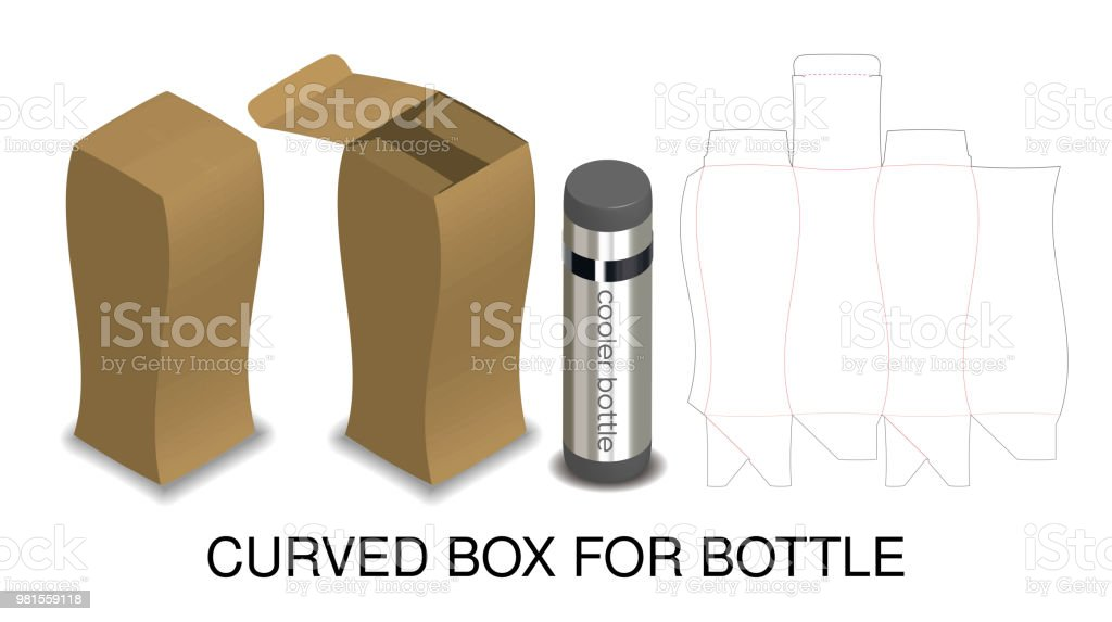 Curved hard paper box for bottle packaging product stock vector art curved hard paper box for bottle packaging product royalty free curved hard paper box for malvernweather Gallery