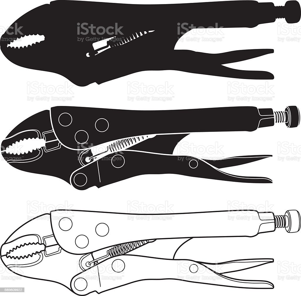 Curved Jaw Locking Pliers vector art illustration