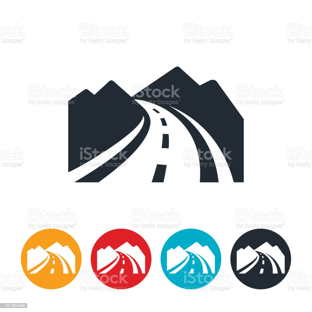 Curved Mountain Road Icon vector art illustration