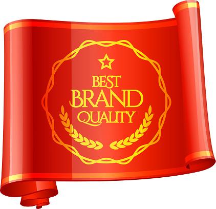 Vetores de Curvada Fita Vermelha Marca De Qualidade e mais imagens de Amarrotado