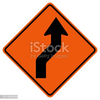 Curved Right Traffic Road Symbol Sign Isolate on White Background,Vector Illustration