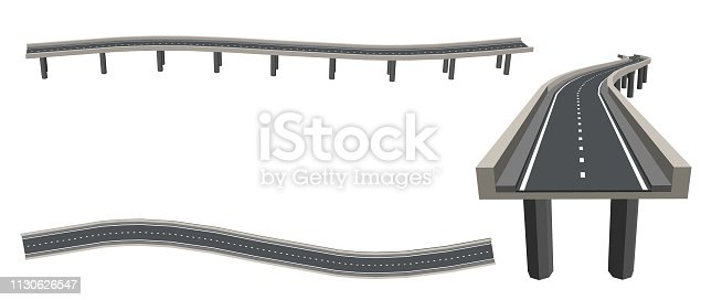 Curved road on supports. 3d Vector illustration. Different viewes.