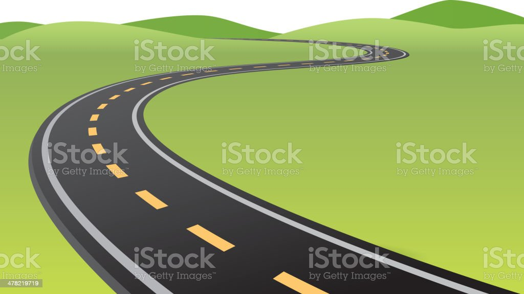 Curved road vector art illustration