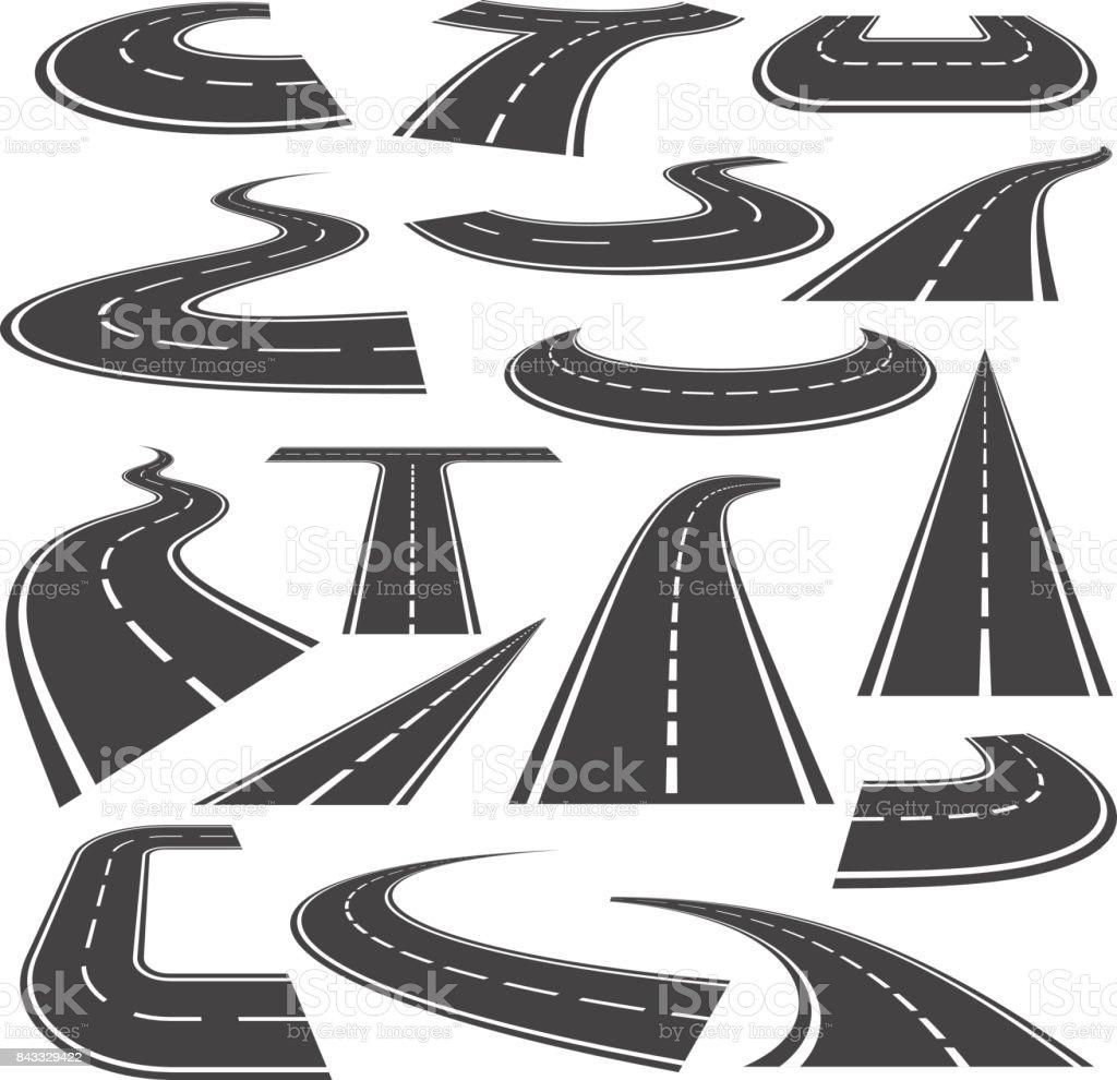 Caminos curvos icono estilo plano conjunto - ilustración de arte vectorial