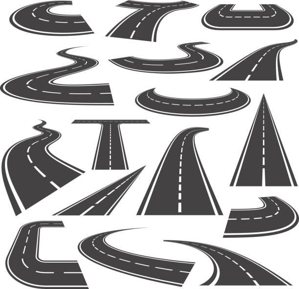 ilustrações de stock, clip art, desenhos animados e ícones de curved roads icon flat style set - carro na rua