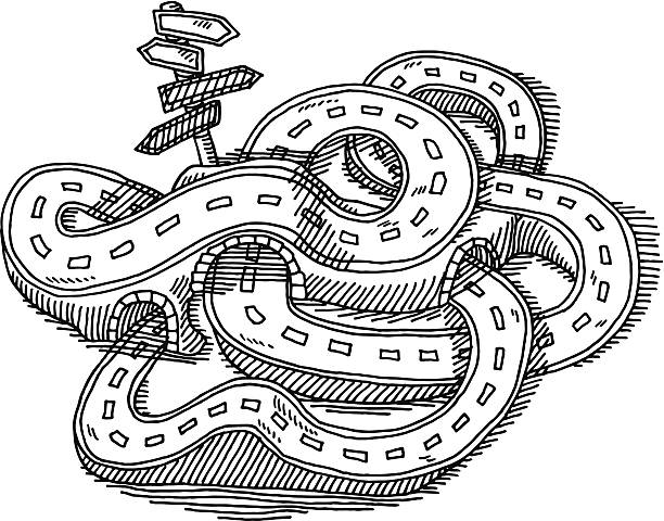 Royalty Free Black And White Road Clip Art, Vector Images
