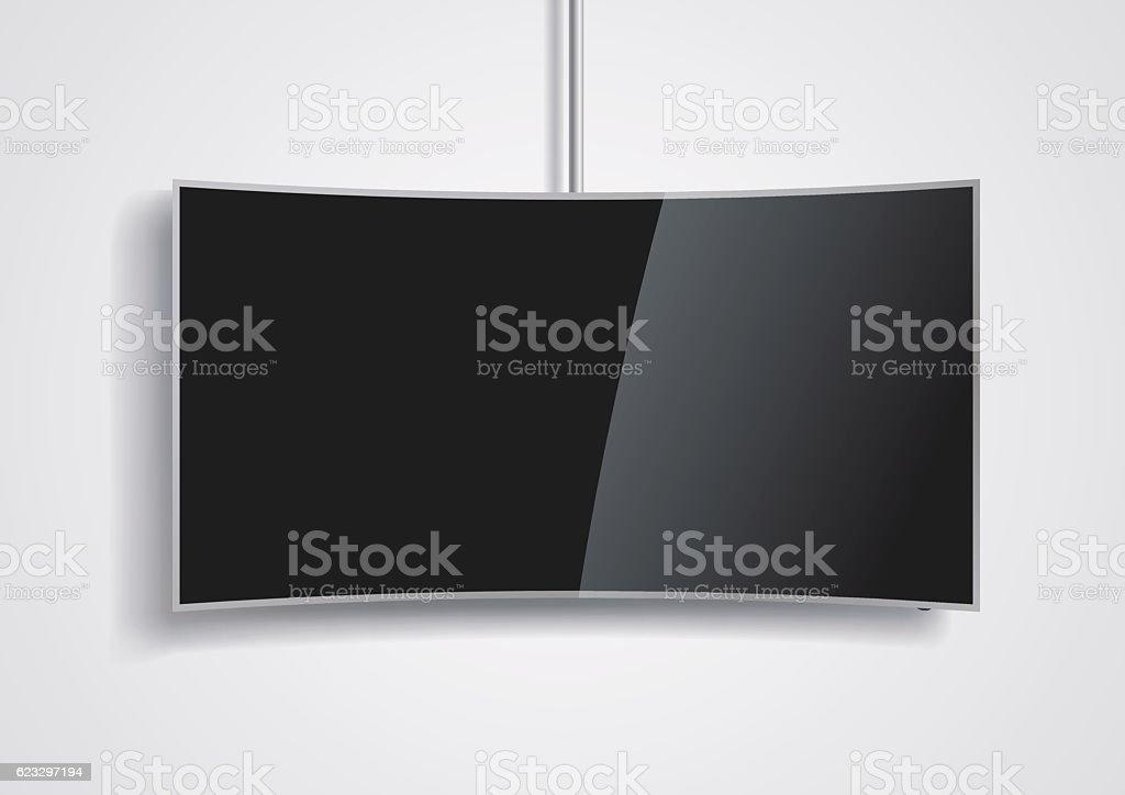 Curved screen smart TV vector art illustration