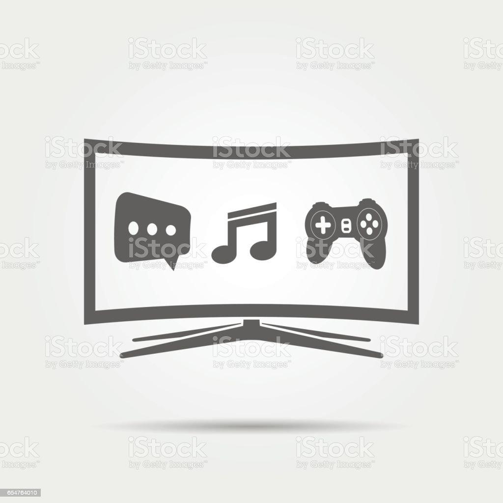 Curved Smart TV Icon vector art illustration