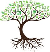 A simple graphic tree illustration with the foliage formed from symbols relating to technology and computing.