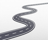 Curved road or highway with markings. Vector eps illustration isolated on transparent background.