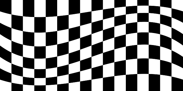 Curved White And Black Squares Seamless Pattern