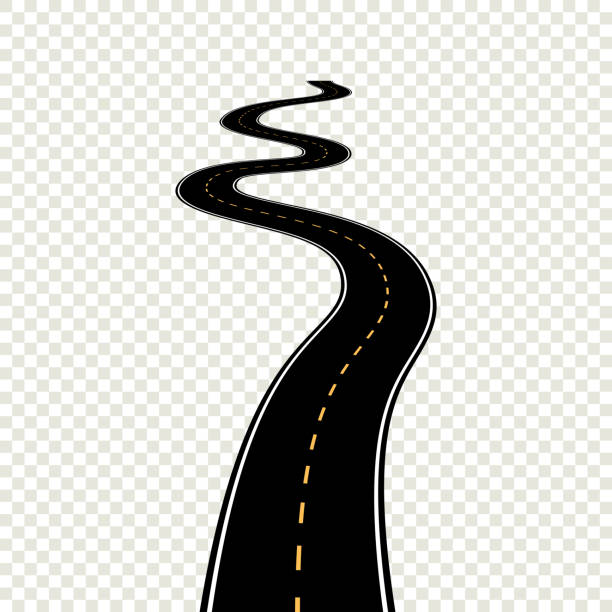 Curved winding road with white markings. Vector illustration eps Curved winding road with white markings. Vector illustration eps 10 backgrounds clipart stock illustrations