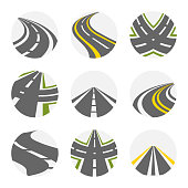 Curving Road Vector Set. Roads Logo Set In Grey Colour With Isolated Curvy Suburban Roads Images With Fork Turns Illustration