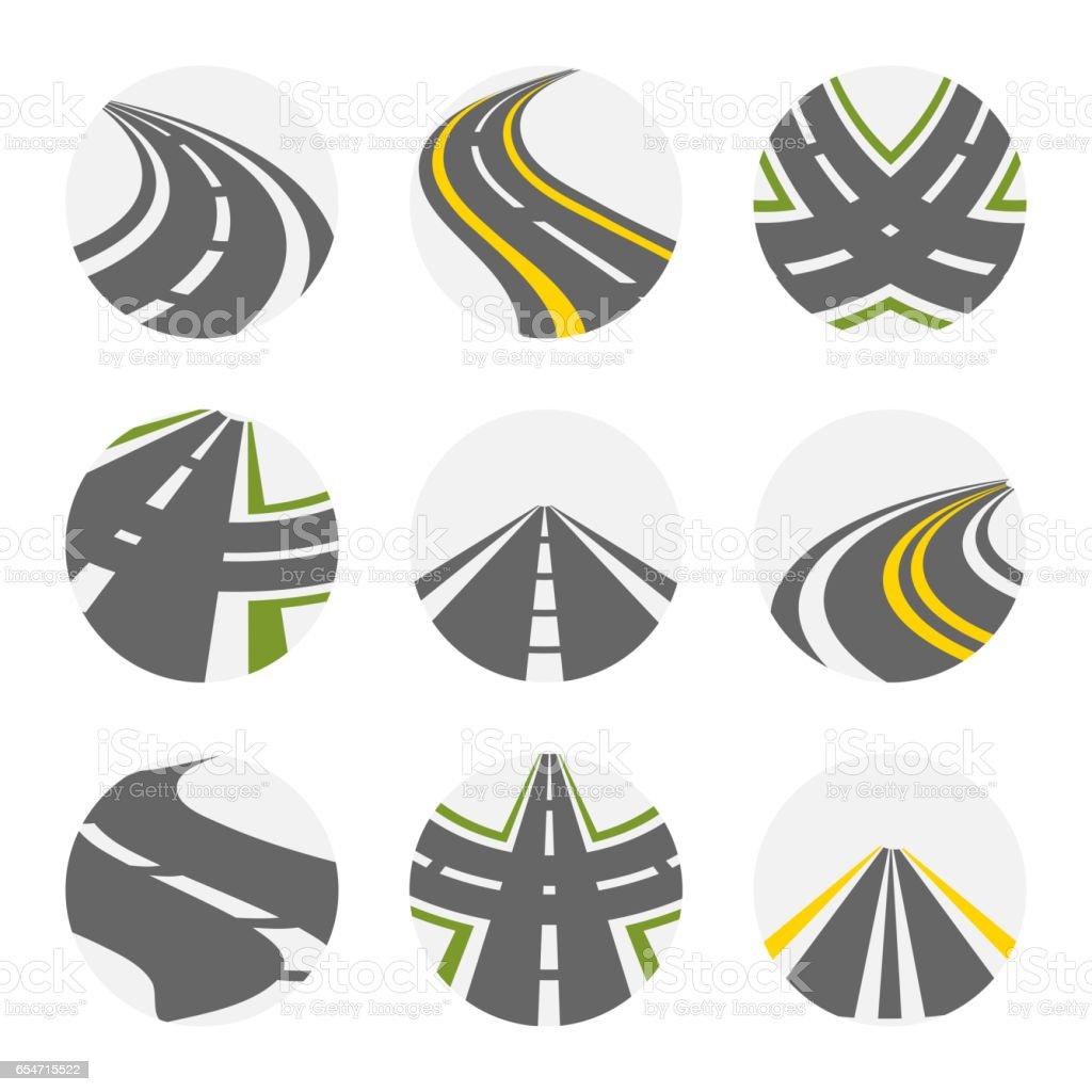 Curva el camino conjunto de vectores. Caminos logotipo conjunto en color gris con imágenes aisladas curvas carreteras suburbanas con ilustración de vueltas de horquilla - ilustración de arte vectorial