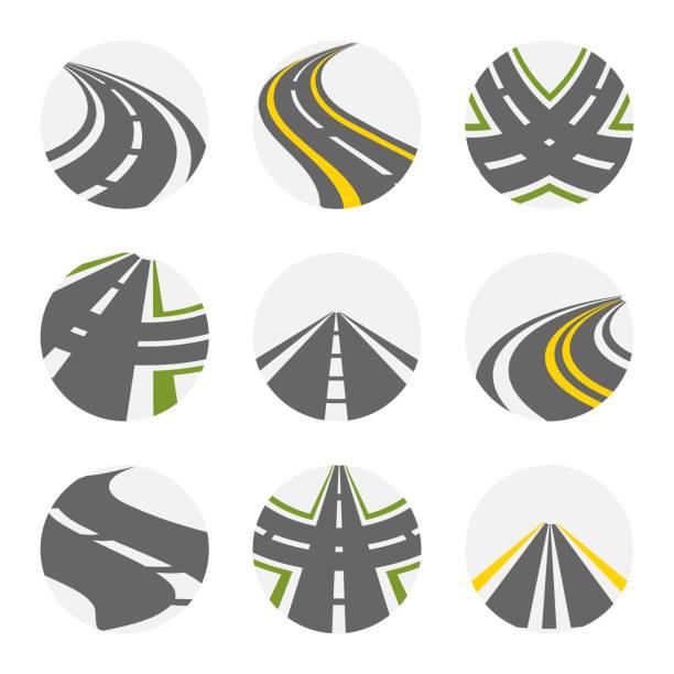 ilustraciones, imágenes clip art, dibujos animados e iconos de stock de curva el camino conjunto de vectores. caminos logotipo conjunto en color gris con imágenes aisladas curvas carreteras suburbanas con ilustración de vueltas de horquilla - íconos de caminos