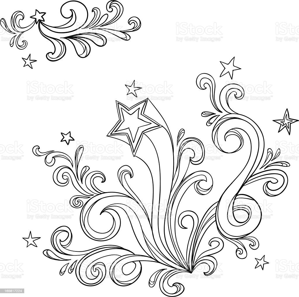 Curvy designs with stars in black and white royalty-free stock vector art