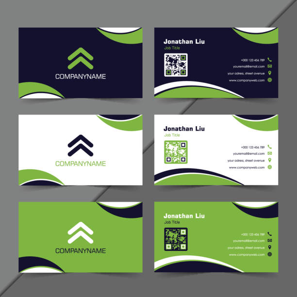 curvy modern business card collections - business cards templates stock illustrations