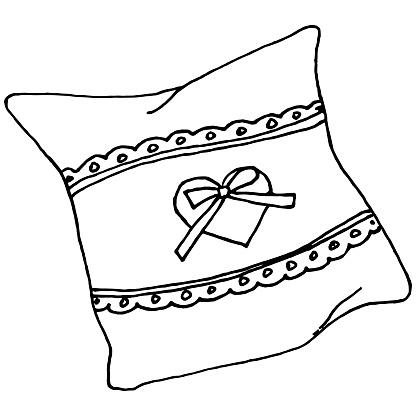 Cushion black and white doodle