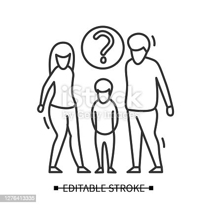 Custody assessment icon. Woman and man with orphan boy under question line pictogram. Step family parenting evaluation for child adoption concept. Editable stroke vector illustration.