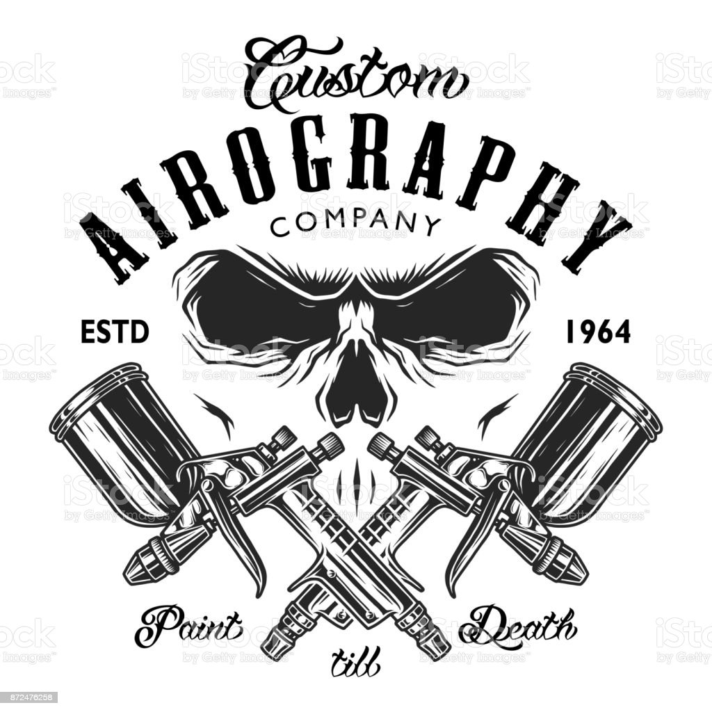Custom aerography company emblem vector art illustration