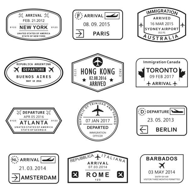 ilustraciones, imágenes clip art, dibujos animados e iconos de stock de conjunto de sello pasaporte personalizado y viajes. sellos de visa de aeropuerto internacional. ilustración de vector. - viaje a canadá