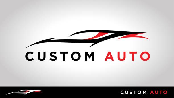 Custom Auto Sports car icon Custom auto sports car silhouette vehicle tuning shop icon design. Vector illustration. Font used - Gotham Bold. car salesperson stock illustrations