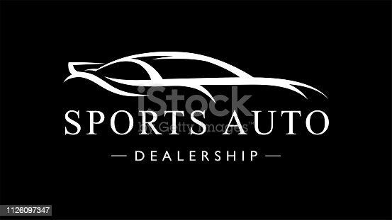 Custom auto sports car dealership icon. Motor vehicle silhouette super car design. Vector illustration.